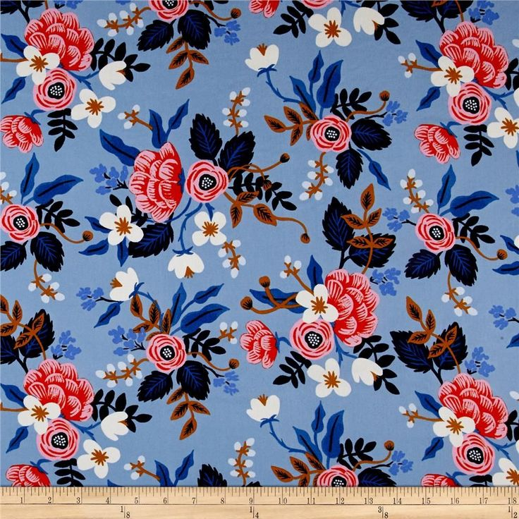 Cotton + Steel Rifle Paper Co. Les Fleurs Rayon Challis Birch Floral Periwinkle from @fabricdotcom  Designed by Rifle Paper Co. for Cotton + Steel, this lightweight rayon challis fabric has a smooth luxurious hand and soft, liquid drape.
