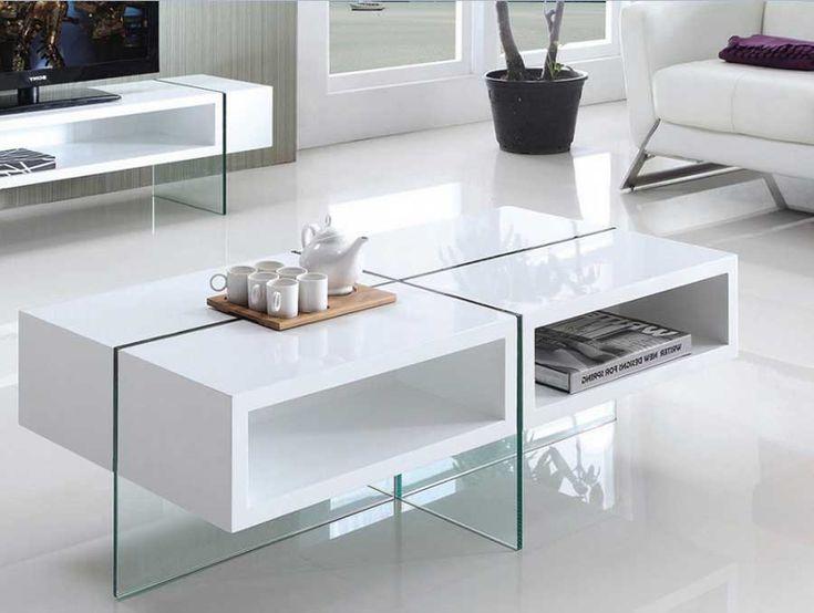 Couchtisch Hochglanz Weiss Mit Schublade Und Material Kombination Aus MDF Glas Inklusive Wohnzimmertisch