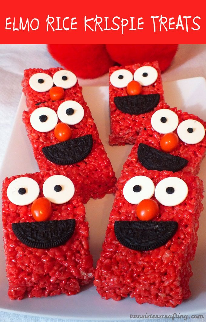 If you are looking for a fun dessert for your Elmo Birthday Party these Elmo Rice Krispie Treats fit the bill. They are cute, yummy and easy to make!  For more great Sesame Street Party Ideas, follow us at https://www.pinterest.com/2SistersCraft/
