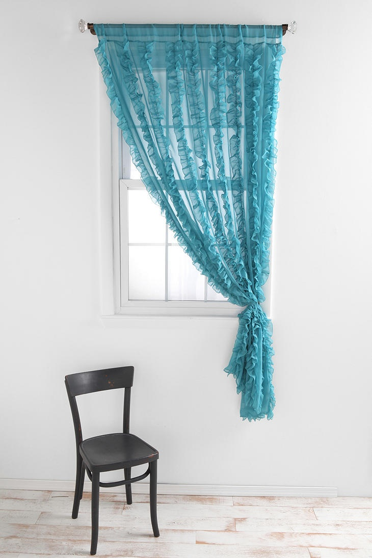 Style selections eva peva print multi fish shower curtain at lowes com - Urban Outfitters Flounce Ruffle Stripe Curtain Clearly I Like Teal