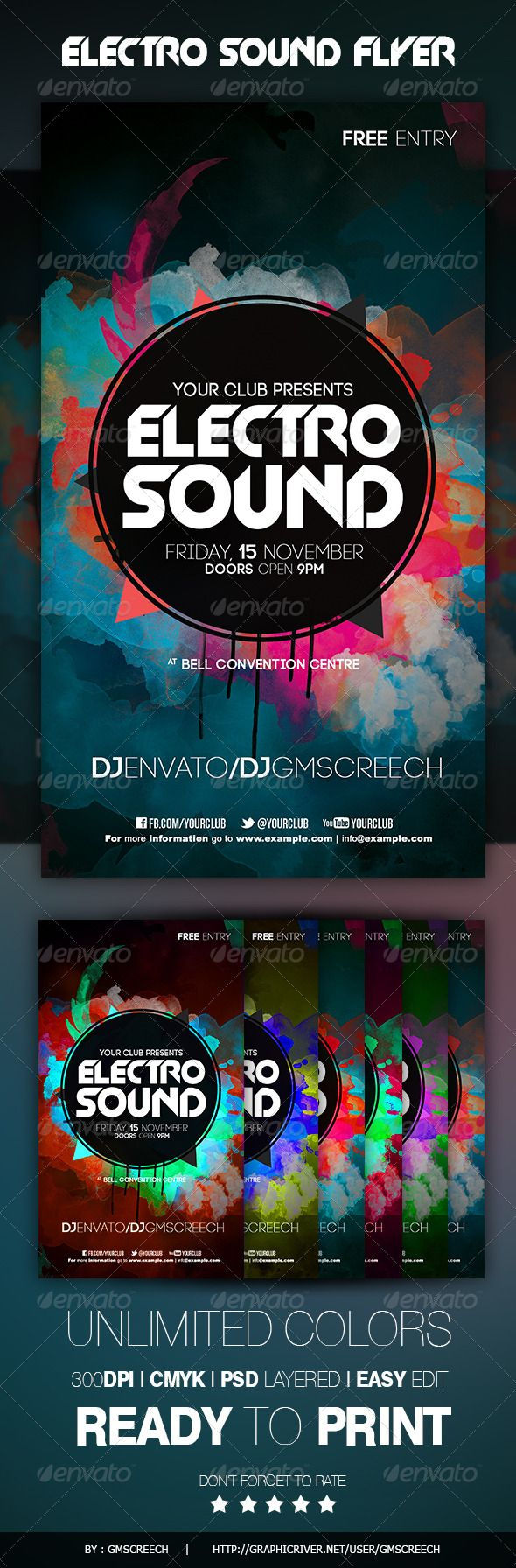 """Electro Sound Color Flyer #GraphicRiver Technical Description The PSD file is setup at 1200px x 2100 px (4×7"""") 0.25"""" bleeds CMYK 300DPI – READY TO PRINT Easy to customize! 5 color styles! – All the text is edited – Fonts links in .txt file – Fully layered The PSD file is very well organised. Recomendation: I suggest to familiarise yourself with what folders do what, is to quickly go down the layer list and turn off/on the visibility for the folders to see how that group affects th..."""