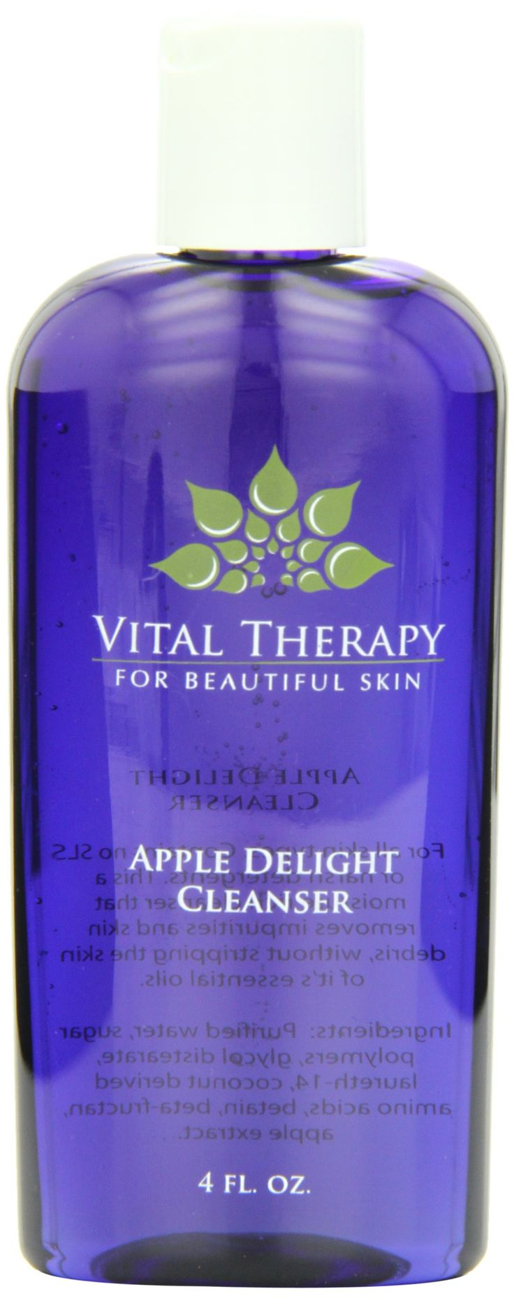 Vital Therapy Cleanser, Apple Delight, 4 Ounce. This will not dry out the skin. Heaven for dry skin!. Developed by pharmacist and doctor of naturopathic medicine. The finest, non-toxic skin nutrients found on the market. Nutrient concentrated, with cutting edge synergistic activity that achieves results rapidly. No toxic preservatives, dyes, filler, fragrances, or chemicals are used in Vital Therapy products.