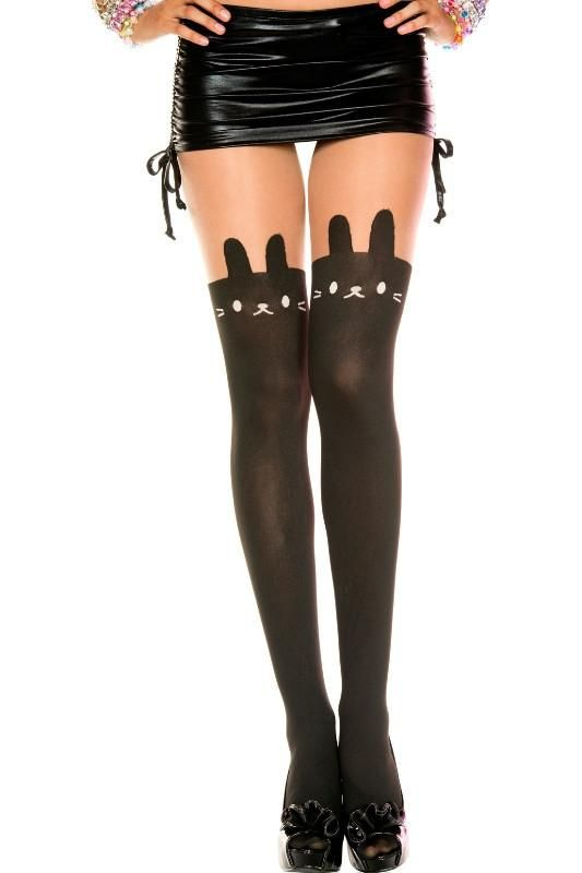 03ffe6e6b Faux Bunny Suspender Thigh High Look  Black