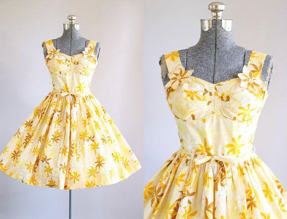 Vintage 1950s Dress / 50s Cotton Dress / Candy Jones Yellow