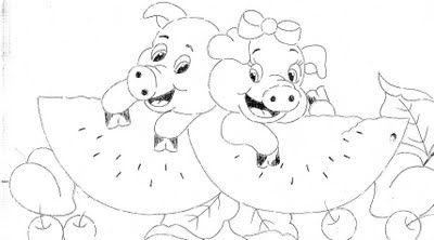 Riscos de Pintura: Riscos de Pintura de Porquinhos