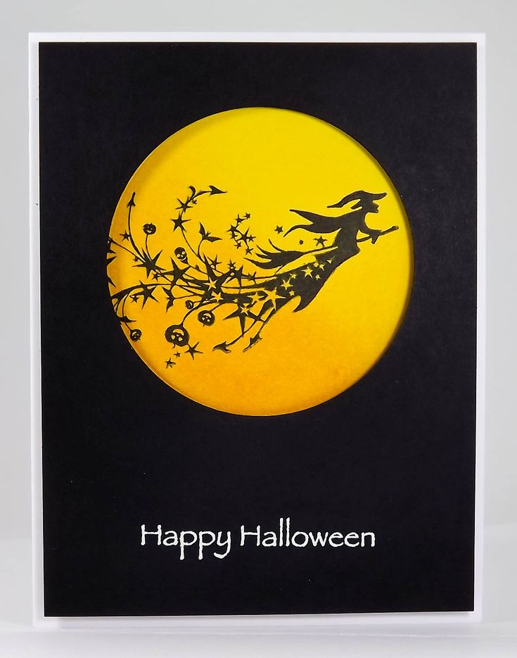 handmade Halloween card by Manitoba Stamper ... clean and simple ... black card base ... chromium yellow moon in negative space circle ... stamped witch on a broom ... great card ...