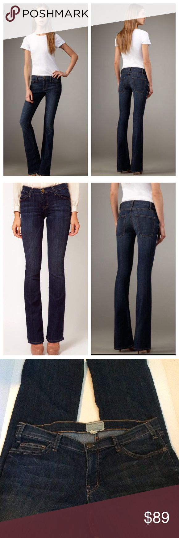 """Current/Elliott """"The Cowboy"""" Voyage Bootcut jeans Looking for a constant companion? The Current/Elliott Cowboy jeans deliver a flattering boot-cut in a classic dark wash—love them now and always. Cowboy cut in the voyage (dark blue) wash, featuring strategic whiskers and fading to slim figure. Low-rise style sits at hip. Slim through hip and thigh; flared into flattering boot-cut from knee. Clean, classic five-pocket style. Button/zip fly; belt loops. Cotton/polyester. Current/Elliott Jeans…"""