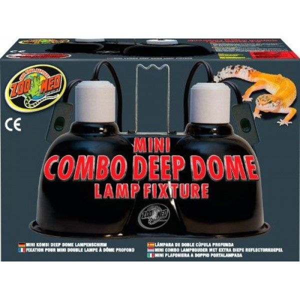 Zoo Med Mini Combo Deep Dome Lamp Fixture, Black  Polished aluminum dome increases light and UV output up to 30% *Dual ceramic sockets for use with lamps up to 100 watts (each socket). *Deep Dome extends beyond the face of the lamp, preventing the lamp from sticking out...