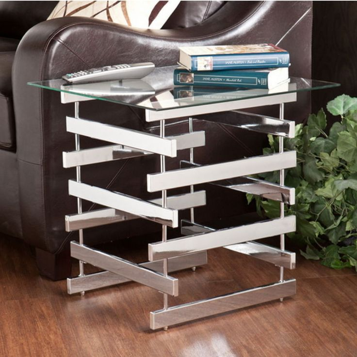 Contemporary End Table Living Room Furniture Tempered Glass Top With Chrome Legs