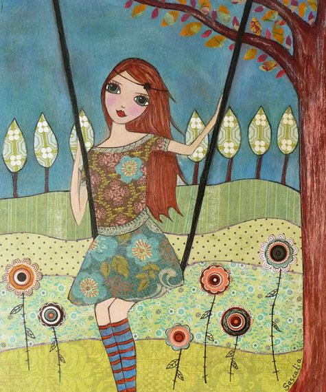 Folk art Girl Painting Art Print Block Whimsical Girl by Sascalia, $14.99