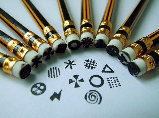 DIY pencil end eraser stamps by Black Flora at Flickr