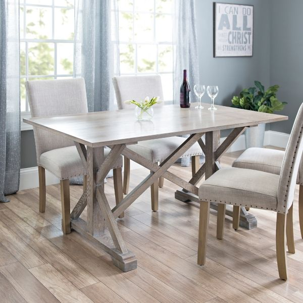 As A Desk Annalise Distressed Gray Oak Dining Table Kirklands Grey Dining Tables Oak Dining Table Beach House Dining Room