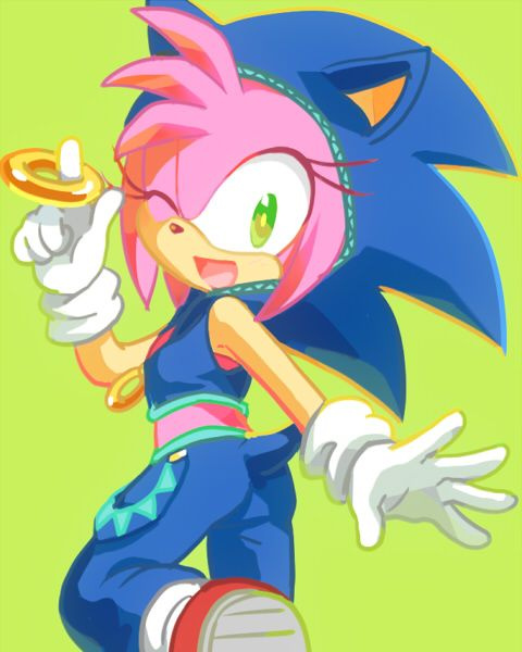 Amy Rose in Miku's Sonic costume