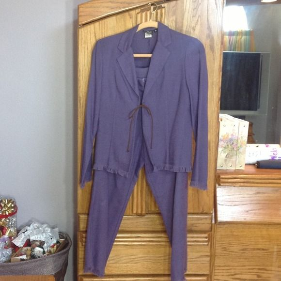 🔥SALE🔥 Petite Suit Purple 6 petite suit, pants and jacket. Great shape. Fun fringe on the bottom of pants and jacket. Odds &Evens Jackets & Coats