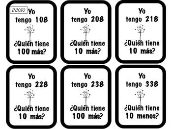 Español: 2nd Grade Mental Math - I have ..Who has..? (+/-10/100) Math Centers