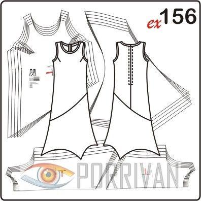 Это летнее платье для полных будет хорошо смотреться сшитым из тонких тканей, например, шифона или шёлкового трикотажа. Оригинальное решение линии низа при