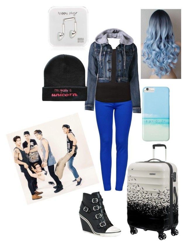 """Living with the janoskians"" by xxabbeybearxx ❤ liked on Polyvore featuring Boutique Moschino, LE3NO, Ash, Gray Malin, Happy Plugs, American Tourister, women's clothing, women, female and woman"