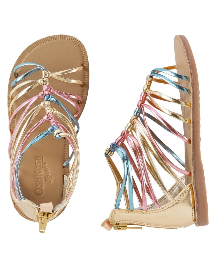 These metallic sandals with back ankle zippers are just what she needs to complete her favorite summer outfit!