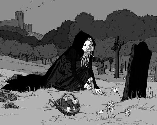 cemetery, flowers, and goth image