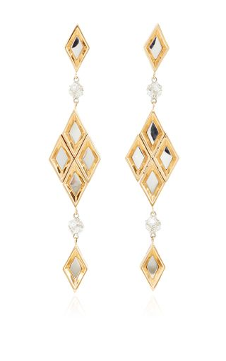 18K Rose and White Gold Brillante Rhombi Earrings with Diamonds (2.12cts) - 9cm long by PAOLO COSTAGLI 'SS16' for Preorder on Moda Operandi ♥≻★≺♥
