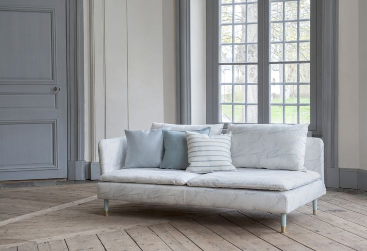 Winner from Germany. Söderhamn 3 seater sofa cover in Ahoi by Barbara Regus. Cushion covers in Egg Shell Blue, Duck Egg Brera Lino and Cloud Brera Fino by Designers Guild. www.bemz.com.
