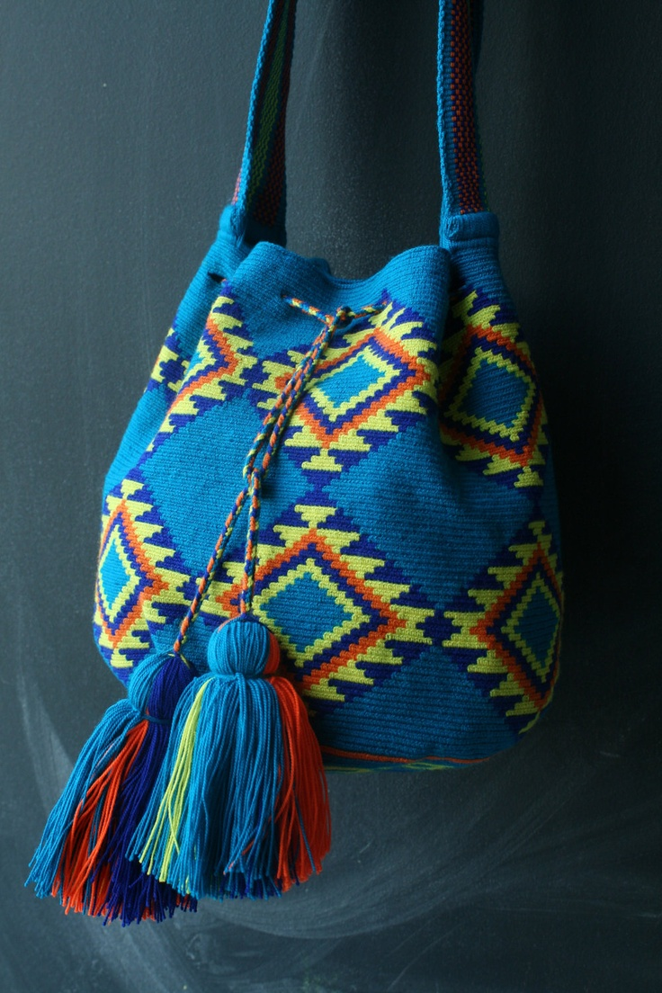 Mochila Wayuu - Teal, yellow, orange multicolor. $160.00, via Etsy.