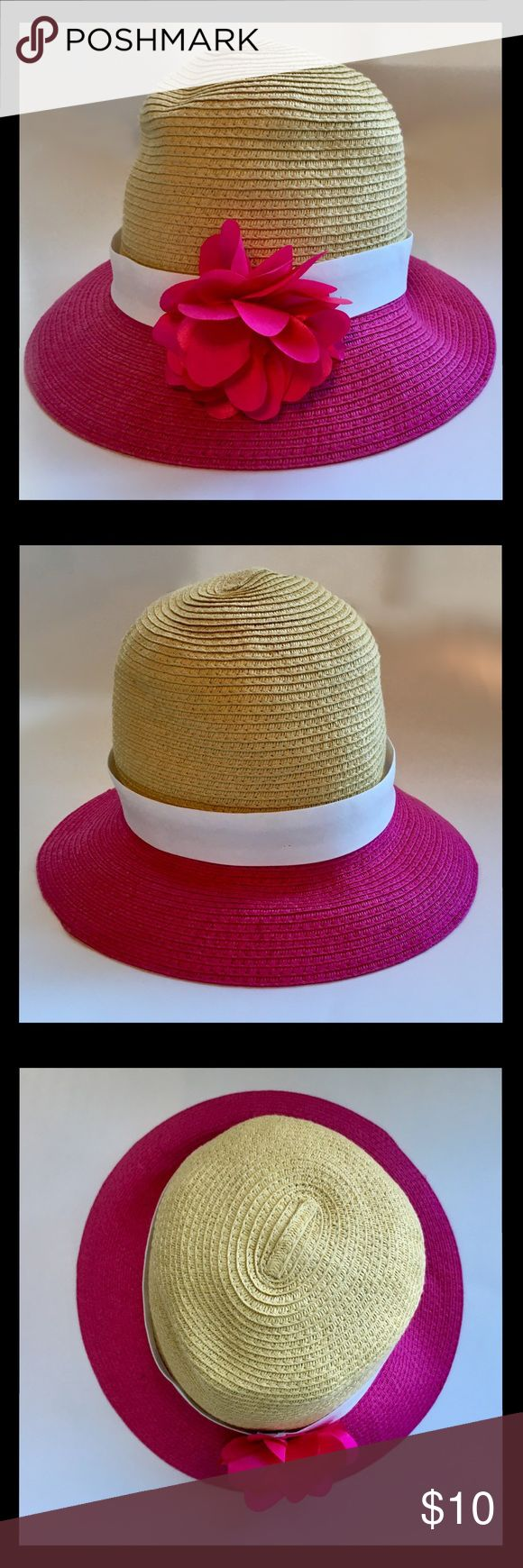 GYMBOREE Straw Hat 🎀 Pink Flower White Ribbon L Adorable GYMBOREE Straw Hat accented in white ribbon and a pink flower.  ·        Gymboree. ·        Girls' Size: Large, 10 12. ·        Excellent Condition. ·        Material: 88% Paper, 12% Polyester. ·        See pictures for dimensions. Gymboree Accessories Hats
