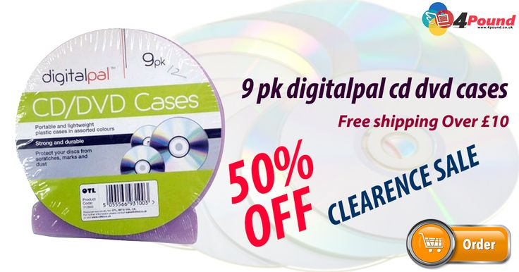 Flat 50% OFF as clearance Sale for 9 Pk Digitalpal Cd Dvd Cases. Grab it today. #Free_Shipping Availability. #dvd #digital #4pound Product Description : 9 Pack Digital CD DVD Cases Portable and light weight Packed in plastic case Assorted colours Strong and durable Protect disks from scratches, Marks and dust http://www.4pound.co.uk/9-pk-digitalpal-cd-dvd-cases