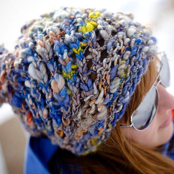 Great Bulky Hat Pattern Featuring Handspun Textured Art