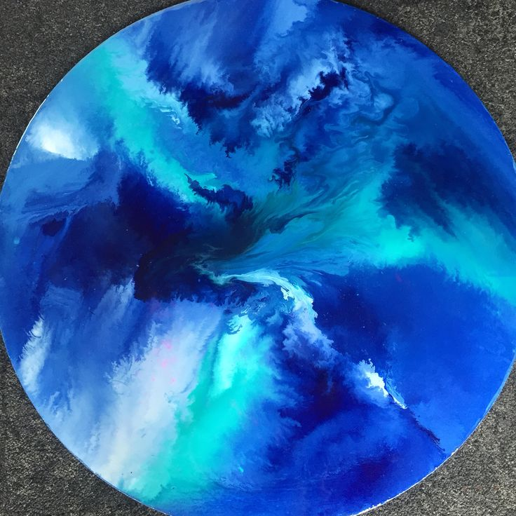 Round flow paint resin wall art