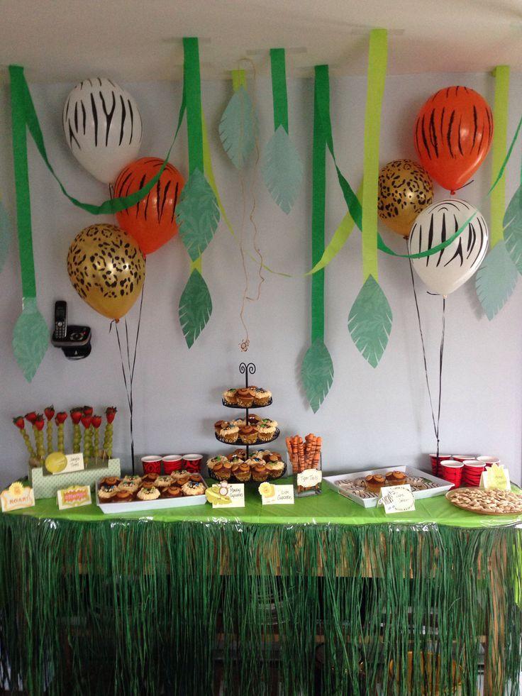 Jungle / safari theme first birthday party dessert / snack table