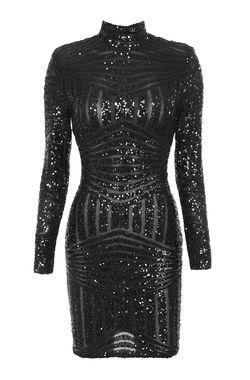 Zouita Black Embellished Glitter Dress