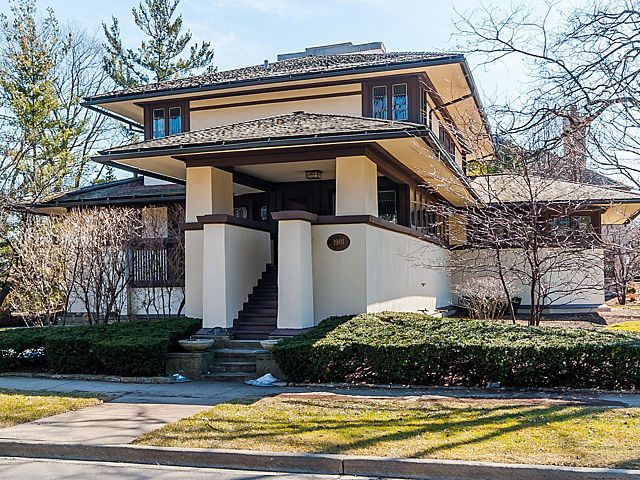 """Markedly prairie school, """" Wright's F.B. Henderson House has been on and off the market for years, and it was just re-listed this week for less than $1 million. The kicker with this western suburban spot:  A winecellar in the basement"""""""