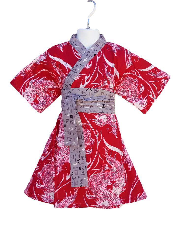 Kimono Dress in RED DRAGON Yukata Modern Kimono Girls Baby ...