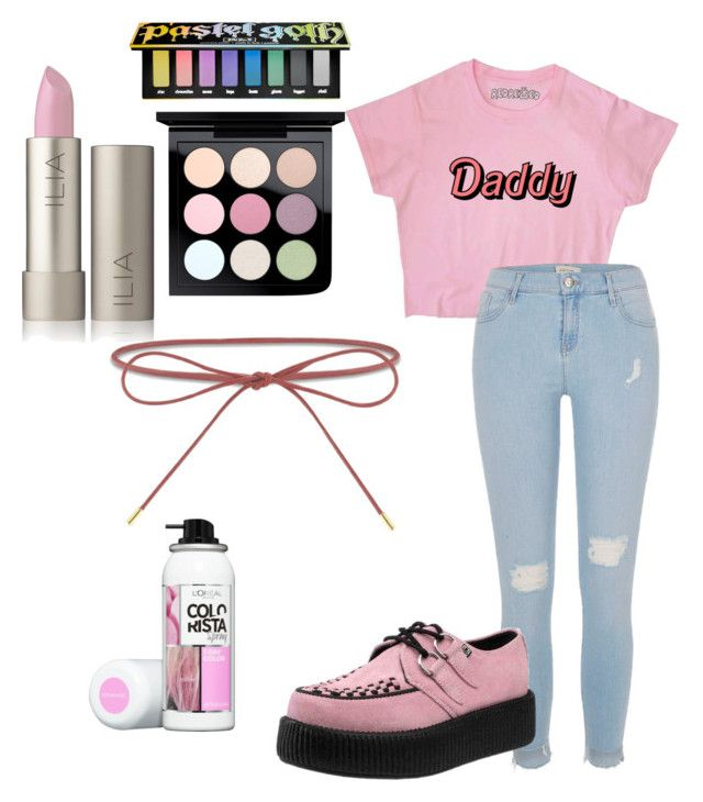"""""""Daddy🍑"""" by danielle-bell-i on Polyvore featuring River Island, T.U.K., Kat Von D, MAC Cosmetics and Elizabeth and James"""