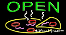 Open, Pizza Neon Sign-10693-6938  Open, Pizza Neon Sign - People looking for a slice of delicious pizza will certainly notice this bright Open Pizza Neon Sign. Outshine your competitors with suggestive advertising. Choose black or clear Lexan Plexiglass with optional flashing letters on a horizontal plane. Green letters stand out over the colorful yellow, purple and red pizza. Standard transformer included – or order the extra strength Hot Swap transformer.