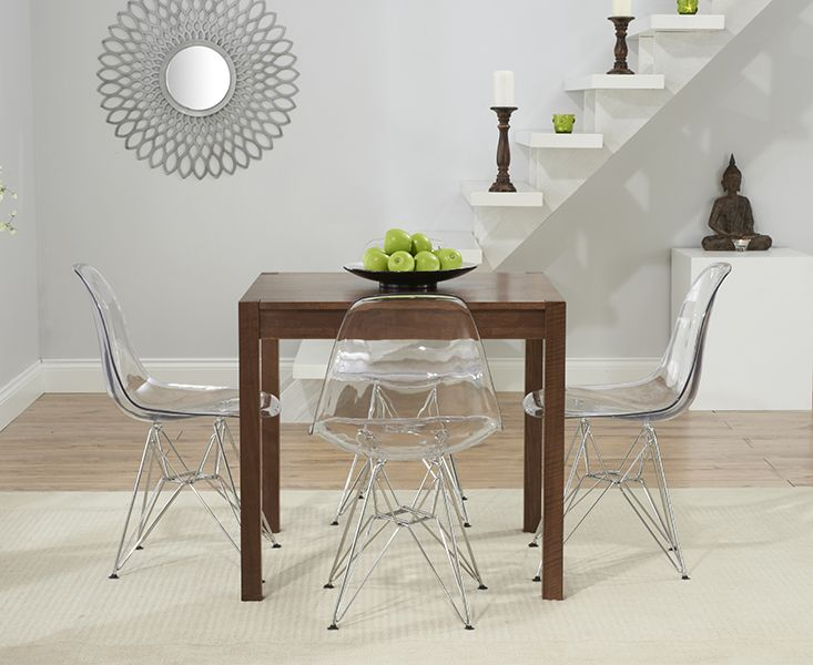 Oxford 80cm Dark Solid Oak Dining Table With Charles Eames Style Dsr Eiffel Transpa Chairs
