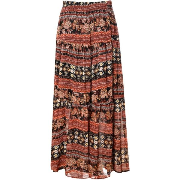 Alice & You Printed maxi skirt ($31) ❤ liked on Polyvore featuring skirts, long brown maxi skirt, patterned maxi skirt, gypsy maxi skirt, long print skirt and long maxi skirts