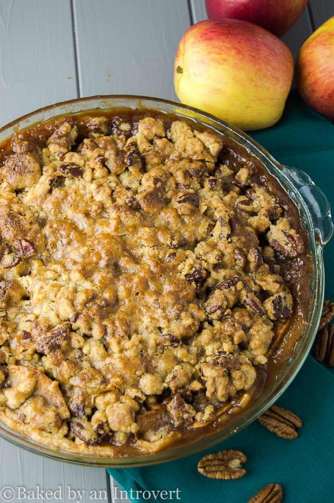 Caramel Apple-Pecan Streusel Pie