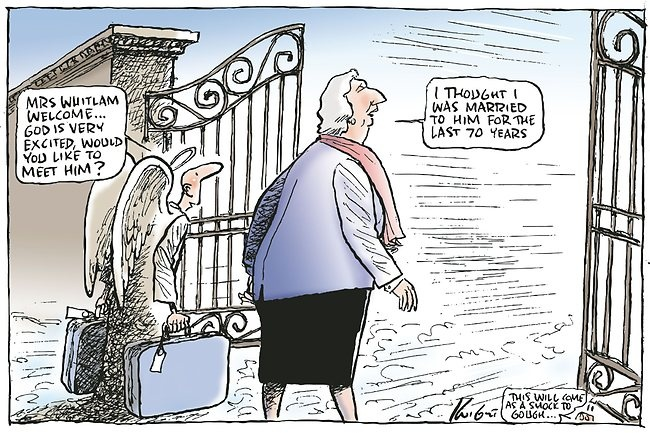 Margaret Whitlam goes to heaven ...    Mark Knight cartoon 19 March 2012.