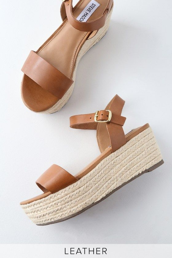 25a97101452 All you need for a complete summer look is the Steve Madden Busy Cognac  Leather Espadrille