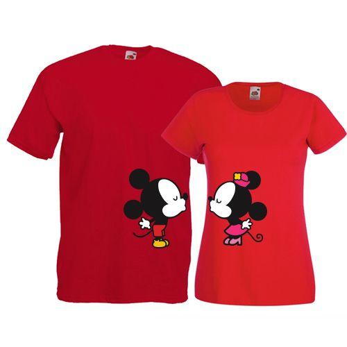 Tricouri pentru cuplu cu simpaticele personaje Minnie si Mickey Mouse care se…