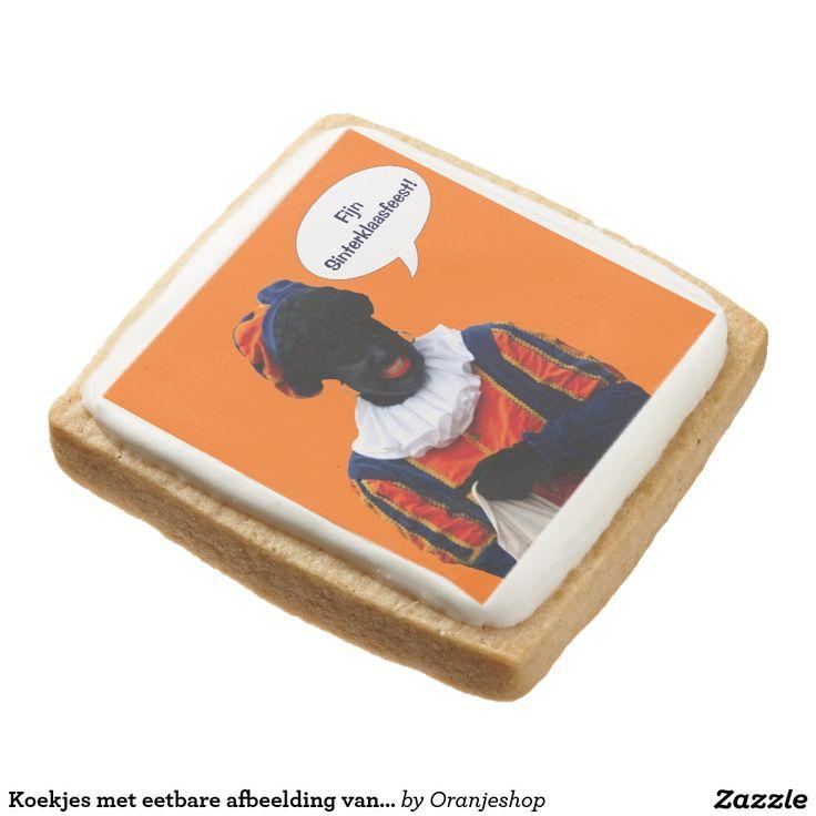 Koekjes met eetbare afbeelding van Zwarte Piet Square Premium Shortbread Cookie