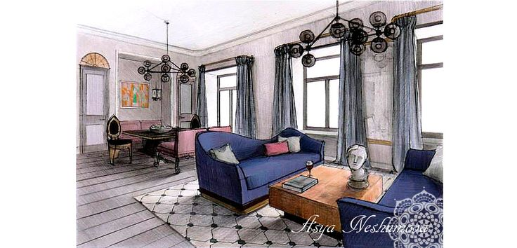 Living Room Drawings interior design interior sketches rendering colored pencils