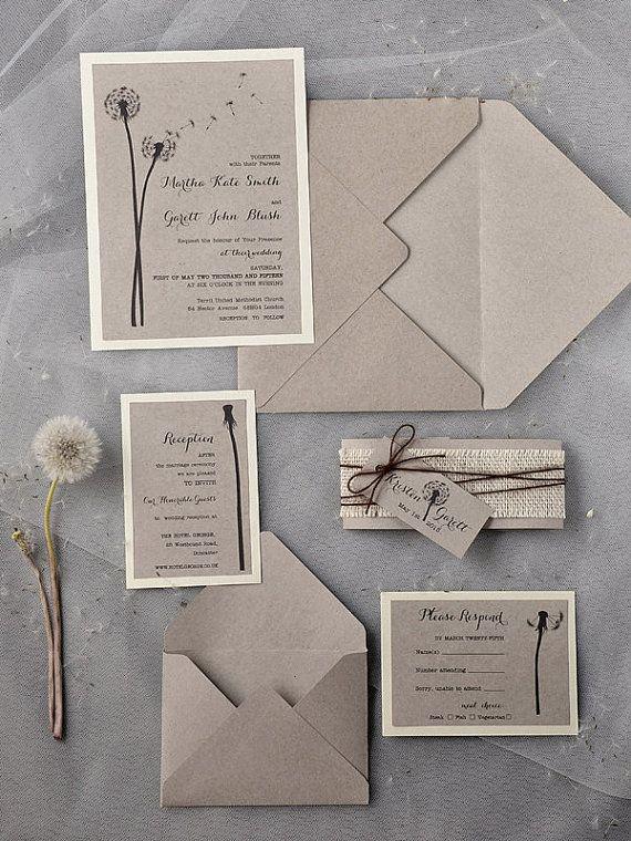 Custom listing 20 Dandelion Invitation Rustic by forlovepolkadots