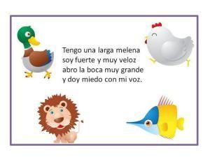 Spanish rhymes for kids: these short rhymes make fun Spanish activities for kids! Guess which animal is being described. Fun Spanish activities for kids: guessing games. Juegos de adivinanza. http://carmenelenamedina.wordpress.com/adivina-adivinador/