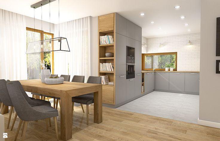 Półeczki w drewnie + zabudowa kuchni po sufit, ale szary aneks - nie