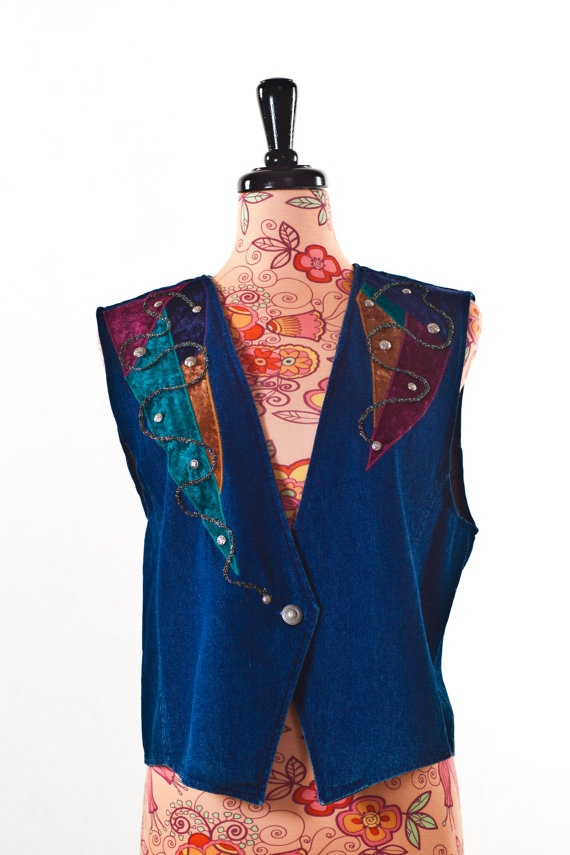 A Couple Of Velvet Patches Vest by GorgJunkie on Etsy, $12.00