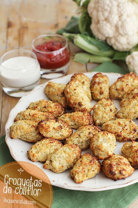 Croquetas de coliflor al horno , Croquetas de coliflor al horno. Una receta fácil para toda la familia: unas croquetas de coliflor ideales para una cena rápida y saludable.