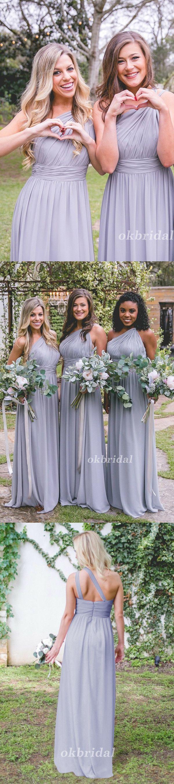 One Shoulder Bridesmaid Dress, Chiffon Bridesmaid Dress, A-Line Bridesmaid Dress, Dress for Wedding, Floor-Length Bridesmaid Dress, LB0860 #okbridal #bridesmaid
